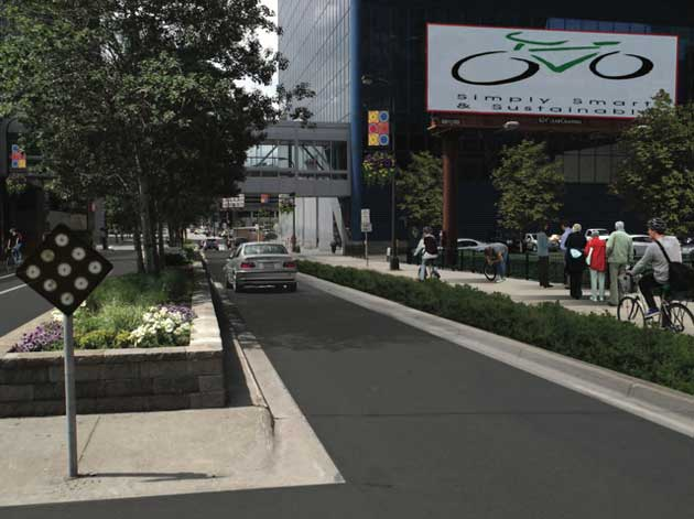 An illustration of a redesigned 3rd Avenue near 8th Street.