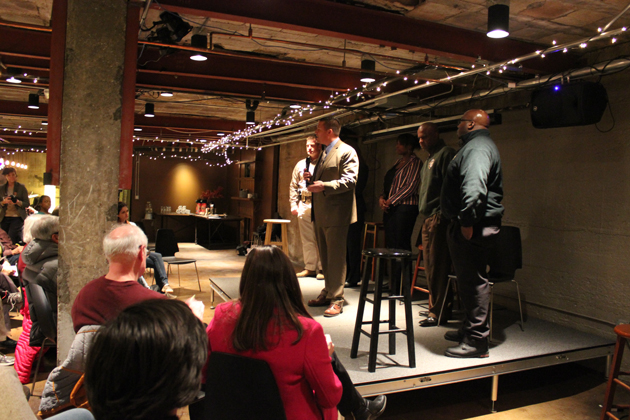 Lt. Erick Fors speaks about the Minneapolis Police Department's new training in implicit bias and procedural justice at a Feb. 17 community forum at Studio 2. Photo by Michelle Bruch