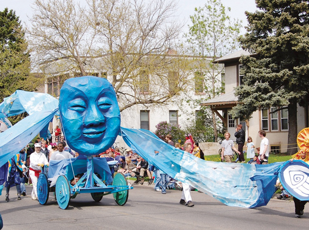 One of the many spectacular large-scale puppets on display during the annual MayDay parade. File photo
