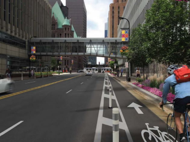 An illustration of a redesigned 3rd Avenue in downtown Minneapolis.
