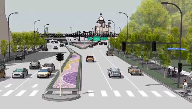 An illustration of a redesigned Hennepin-Lyndale corridor.