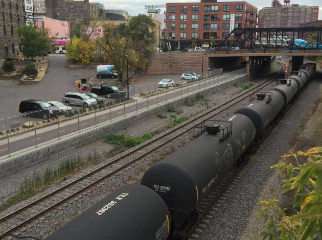 A unit train in downtown Minneapolis. File photo