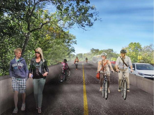 A new transportation study recommends a trail expansion along the Lake Street Channel Bridge. Image courtesy of City of Minneapolis