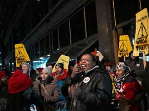 Retail janitors at a recent strike outside the Macy's in downtown Minneapolis. Photo by Uchechukwu Iroegbu