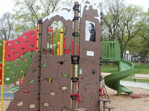 """A climbing wall evokes King's speech """"I've been to the mountaintop,"""" delivered in 1968 on the night before he died. Photos by Michelle Bruch"""