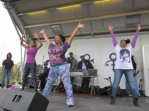 Dancers paid tribute to Prince at the Sabathani Community Center block party celebration April 30. Photo by Jim Walsh