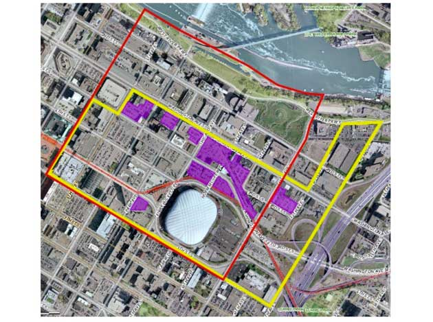 The yellow area shows the new tailgating zone. The red shows the previous zone. The purple lots are eligible for tailgating. Map courtesy of the City of Minneapolis