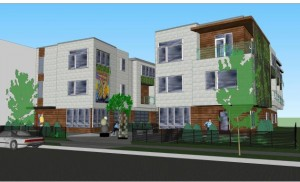 Live-work apartments by Pocket Properties, one of two proposals under consideration for an empty lot at 3329 Nicollet Ave. Image courtesy of Wells & Company Architects