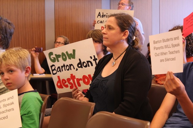 Sommers' supporters, including Barton parent Karen Lindholm, center, packed a July 12 Board of Education meeting.