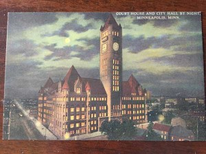 A postcard of City Hall at the Hennepin History Museum. Photo by Sarah McKenzie
