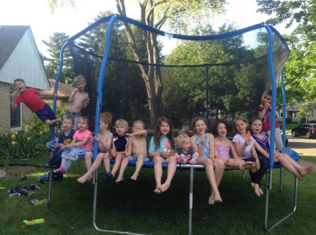 A front yard trampoline attracts all the kids on a Logan Avenue block. Submitted photo