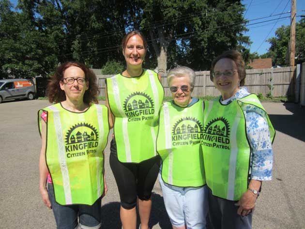 Kingfield Citizen Patrol, left to right: Sabra Waldfogel, Lesa Hudak, Sharon Hagford and Marge Stoic. Photo by Jim Walsh