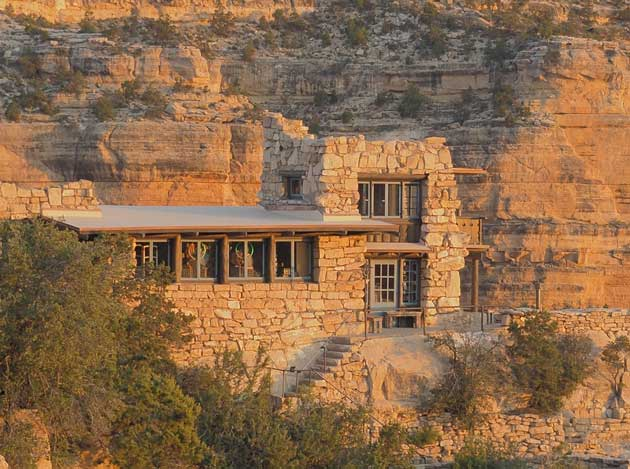 Camouflaged in rock, the Lookout Studio has viewing platforms, books, jewelry, and gifts on several levels. Photo by Linda Koutsky