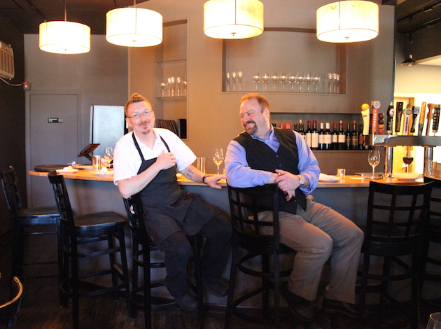 Chef Michael Agan (l) and General Manager James Elm at Xavi, now open at 56th & Chicago. Photo by Michelle Bruch