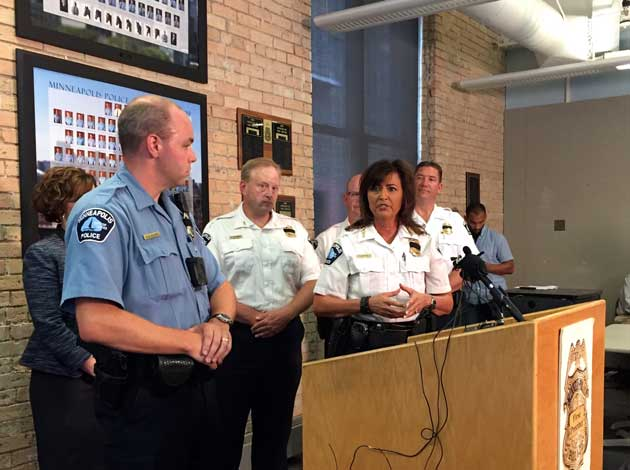 Minneapolis Police Chief Janeé Harteau discusses the new police body camera program. Photo by Sarah McKenzie