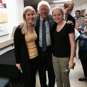 Margaret Breen (right) with Bernie Sanders.