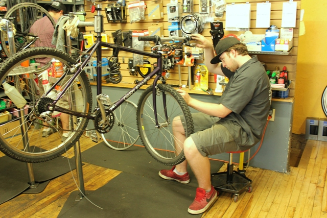 Will Byers Olson at Tangletown Bike Shop.
