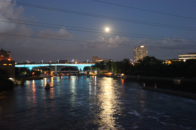 The I-35W bridge was lit in teal Aug. 17 to honor survivors of sexual violence. Photo by Michelle Bruch