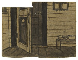 Castle made a kind ink by moistening soot with spit and would often draw with sticks, matches or other improvised tools.