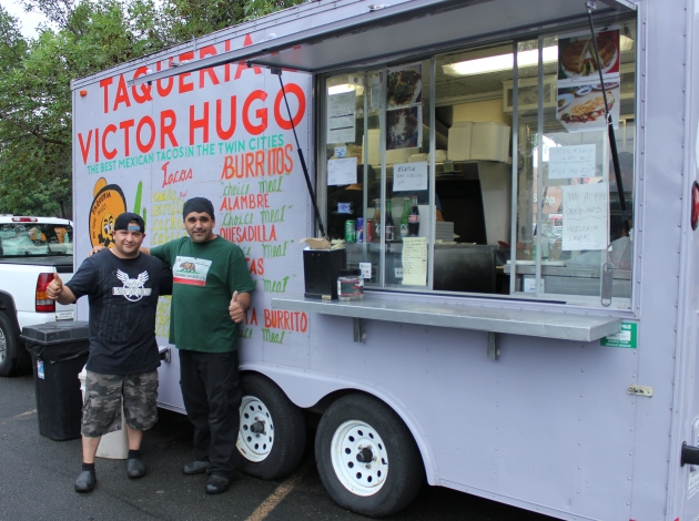 Hugo Balmaceda (l) and Victor Herrera, owners of the Taqueria Victor Hugo food truck.