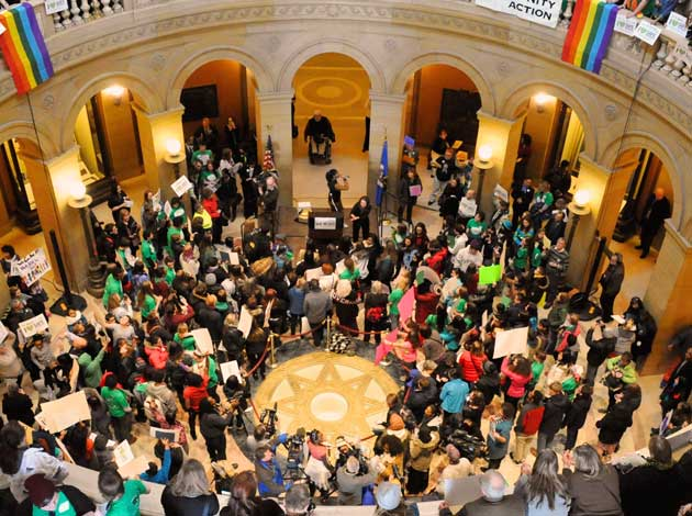 Hundreds of students from across the state attended OutFront Minnesota's rally in the Capitol rotunda in 2014. Photo by Anne Hodson