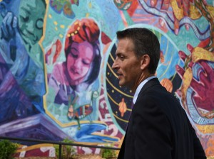 Superintendent Ed Graff visited Lyndale Elementary's mural on the first day of school.