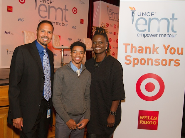Caine Knuckles, a senior at Southwest High School, won a $50,000 scholarship to Philander Smith College. Pictured with Michael Thomas, Minneapolis Public Schools' chief of schools (left) and Caroline Wanga, vice president of Diversity and Inclusion at Target (right). Photo by Atomic K Photography courtesy of UNCF.