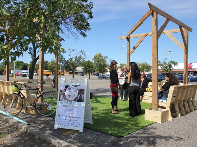 Neighbors took a lunch break at a new pop-up park at Nicollet & Lake.