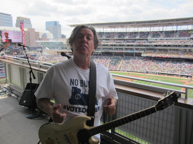 Robert Wilkinson leads Flamin' Oh's through a mini-set at Target Field last summer. Photo by Jim Walsh