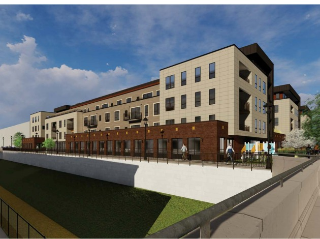 The city Planning Commission approved a five-story apartment building with 120 units. A new pedestrian path would stand north of the project along the Midtown Greenway. Rendering by DJR Architects