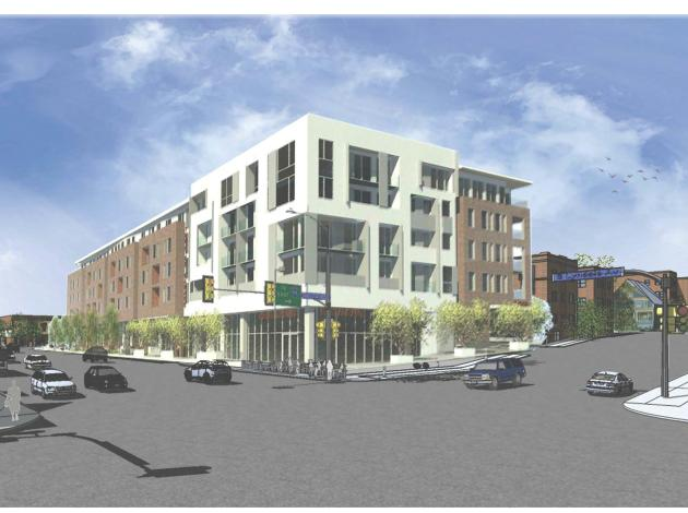 A six-story building with 113 units, retail and a restaurant is slated for the southwest corner of Lyndale & Franklin. Rendering by Collage Architects