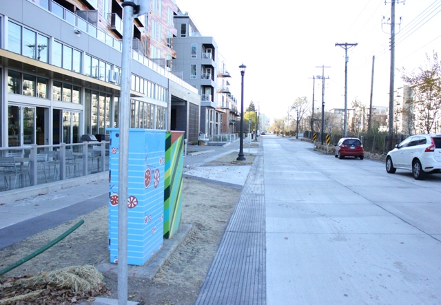 The city's first shared street, a two-block portion of 29th Street, is now open.