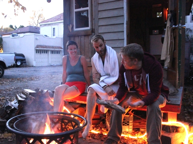 Katherine Campbell, John Pederson and Lee Sarkela (l to r) at the Firehouse sauna.