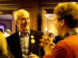 Bob Walser talks with a supporter at the DFL election party after winning his District 4 Minneapolis Board of Education race. Photo by Nate Gotlieb