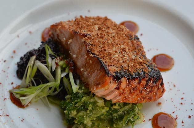 Korean barbecued salmon, ginger-scallion condiment, black rice Submitted photo