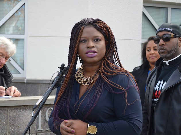 Civil rights activist Nekima Levy-Pounds speaks during a press conference Tuesday at the Minneapolis Police Department 4th Precinct, where the former Minneapolis NAACP president said she will run for Minneapolis mayor in 2017. Photo by Nate Gotlieb