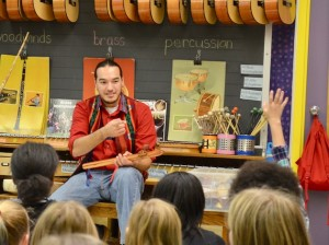 Native American flutist Aaron Erdrich answers questions from a fifth-grade class at Kenwood Elementary School after playing a song. Photo by Nate Gotlieb