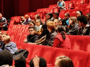 "Minneapolis Public Schools students participate in a post-play discussion with the cast of ""The Parchman Hour,"" a play about the Civil Rights Movement, in November at the Guthrie Theater. Photo by Nate Gotlieb"