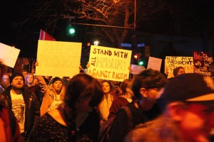 Protesters on Cedar Avenue. Photo by Dylan Thomas