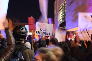 Thousands protested president-elect Donald Trump in a Nov. 10 march through the West Bank and onto Interstate 94. Photo by Dylan Thomas