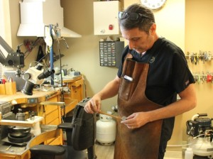 Stephen Vincent creates jewelry using some of the same tools he started with more than 40 years ago at the Renaissance Festival. Photo by Michelle Bruch