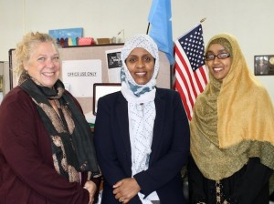 Fartun Weli (center) and her staff at Isuroon.
