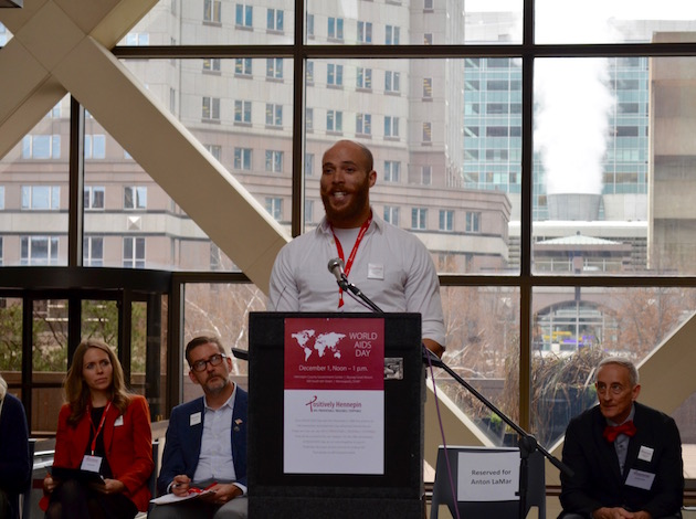 Anton LaMar speaks during a conference announcing Hennepin County's new HIV strategy. Photo by Nate Gotlieb