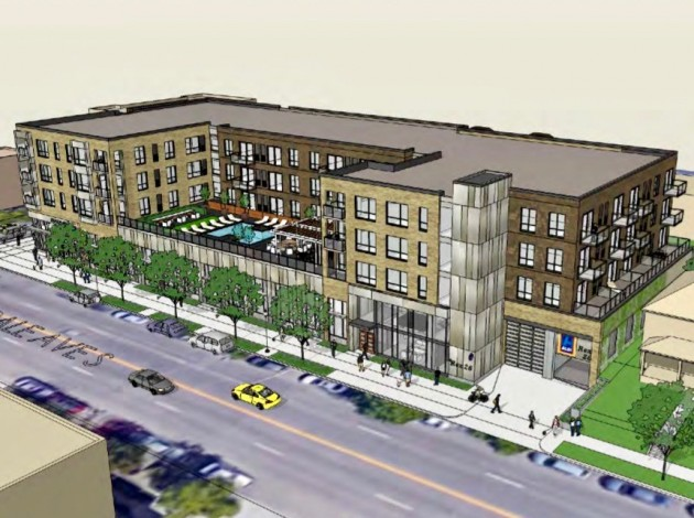 The Rex 26 project would include 77 apartment units and a first-floor grocery store. Photo courtesy the city of Minneapolis