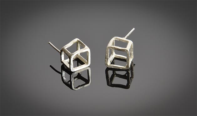 Cube earrings designed by Betty Jager, one of the jewelers features at Walker Art Center's Feb. 4 Jewelry Artist Mart. Submitted image