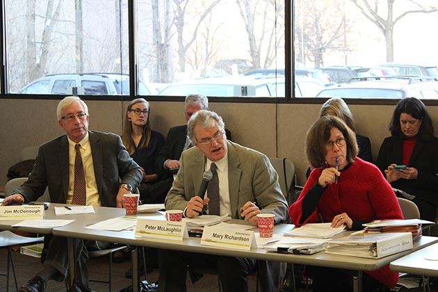 Hennepin County Commissioner Peter McLaughlin, center, chairing the Jan. 18 Counties Transit Improvement Board meeting. The board is planning to dissolve itself. Photo by Dylan Thomas