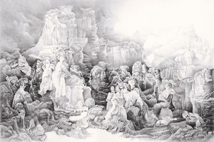 """In """"Reimagining the Lystra Scene,"""" Liu Dan transforms a 17th-century Dutch religious painting as a landscape. Submitted image"""