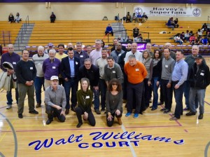 Southwest High School basketball alumni gather to honor longtime basketball coach Walt Williams. Photo by Nate Gotlieb