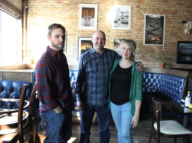 John Galvin (l), Jasha Johnston and Carrie McCabe-Johnston, co-owners of the forthcoming Tilt pinball bar at 26th & Stevens. Photo by Michelle Bruch