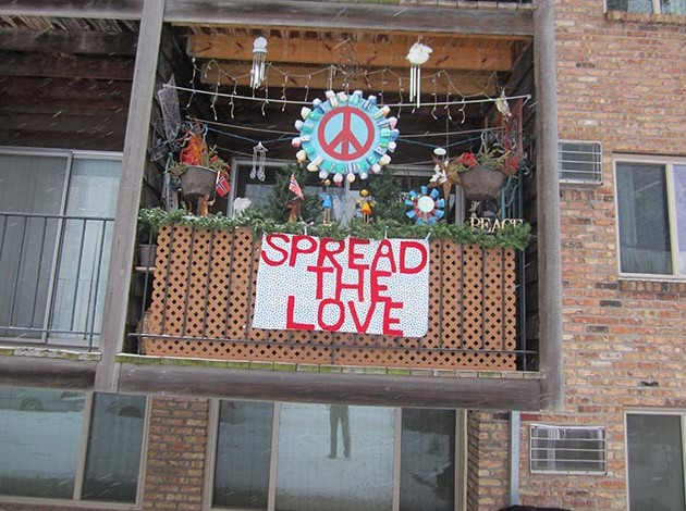 """Take your broken heart, make it into art"": One Nokomis neighborhood apartment-dweller's response to hard times. Photo by Jim Walsh"